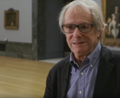 film still of Ken Loach talking about how he is inspired by the work of William Hogarth