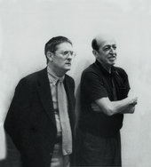 Kenneth Noland (left) with Clement Greenberg (right), c1970s