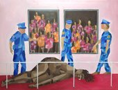 painting of an art gallery with a woman on the floor surrounded by police officers
