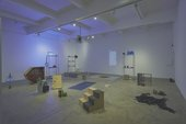Photograph of the installation 'earwitness inventory' showing a series of found objects arranged within a large room