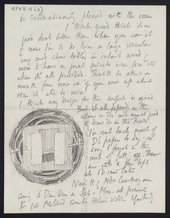 Letter from Roger Fry to Vanessa Bell including a sketch for an Omega rug design © Annabel Cole