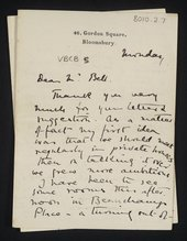 Letter from Vanessa Stephen [Bell] to Clive Bell about setting up the Friday Club, n.d. [1905]