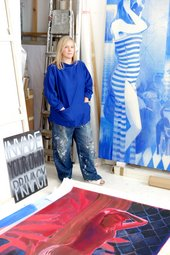 Lisa Brice in her London studio, 2017 - photo Adam Davies