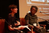 Elena Crippa moderating a Q&A session with Sonia Boyce at Transnational Cities: Tokyo and London, Tate Britain, 30 September 2017