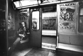 Tseng Kwong Chi Keith Haring in subway car, (New York), circa 1983