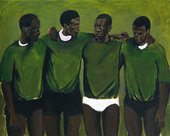 A painting by Lynette Yiadom-Boakye, featuring four male presenting Black figures in green sweaters, with a lighter green background.