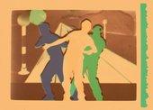 Film still showing three figures dancing