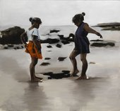 Painting of two girls standing on a beach with bare feet