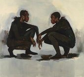 Painting of two people crouching and looking at one another
