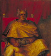 Detail of Mammon 1884–5 by George Frederic Watts, a near life-size painting of a seated figure against a curtained backdrop - a brutish despot, an ugly, lumpen figure seated on his throne decorated with skulls