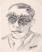 Ink portrait of man with plants growing from his eyes
