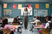 Film still from Manifesto showing Cate Blanchett as a teacher