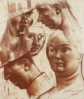 Mark Gertler, Study of Heads for Merry-Go-Round, 1915, graphite and crayon on paper, 46.5 x 40 cm - private collection, photo © Matthew Hollow Photography