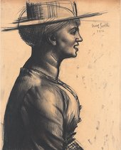 Mark Gertler, The Straw Hat: Study for Merry-Go-Round, 1916, charcoal on paper, 52.1 x 34.3 cm – private collection, courtesy Piano Nobile, Robert Travers (Works of Art) Ltd