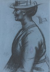 Mark Gertler, The Straw Hat (II): Study for Merry-Go-Round, 1916, charcoal on paper, 58.5 x 40.5 cm - Private collection, courtesy Piano Nobile, Robert Travers (Works of Art) Ltd