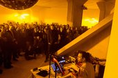 Mark Leckey performing at MoMA PS1, New York in 2017 as part of his exhibition Mark Leckey- Containers and Their Drivers