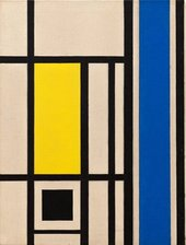 Image credit: Marlow Moss Untitled (White, Black, Blue and Yellow) c.1954 Lent by Hazel Rank-Broadley 2001. On long term loan
