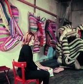 Marta Minujín in Paris with her work Mattress before destruction.  Courtesy the artist