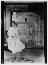 Mary Hutchinson with Vanessa Bell's painting, The Tub, [1916] © Tate Archive