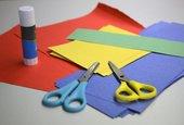 Bright coloured paper and glue