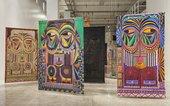 installation view of Pacita Abad's European Masks series