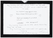 Message left by a visitor to Yoko Ono's My Mummy Was Beautiful at Tate Liverpool, 2004