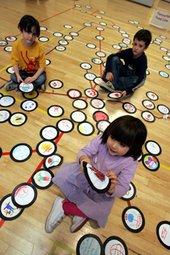 Kids with floor mind map
