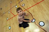 Child with mind map on floor