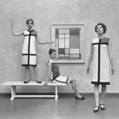 Photograph of models in Mondrian dresses by Yves St Laurent (1966)