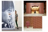 Clockwise from top left Portrait of Anthea Hamilton, Photo by Lewis Ronald Project for Door (After Gaetano Pesce), 2015 installation view, Anthea Hamilton: Lichen! Libido! Chastity!, SculptureCenter, 2015, Courtesy the artist, Photo: Kyle Knodell Brick Su