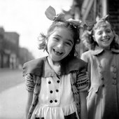 Nigel Henderson Photograph showing two unidentified girls in the street 1949–56 Black and white negative TGA 201011/3/1/56/7 © Estate of Nigel Henderson
