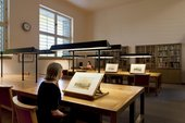 Photograph of visitors viewing watercolours in Tate's Prints and Drawings Room