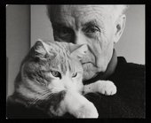 Felicitas Vogler, Photograph of Ben Nicholson holding his cat, Tommy 1968 © Fondation du Refuge SPA de Saint-Légier-la-Chiésaz
