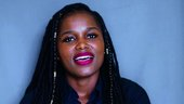 Still from video interview with a young person with braids
