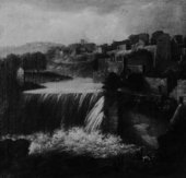 Fig.1 Follower of Jan Wyck Italianate Landscape with Town and Waterfall Date not known Oil paint on canvas 889 x 914 mm N02986