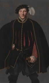 Fig.1 ?British School, 16thC Portrait of a Gentleman, probably of the West Family 1545-60    Oil paint on panel  1333 x 784 mm N04252