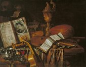 Fig.1 Edward Collier active 1662–1707 Still Life with a Volume of Wither's 'Emblemes' 1696 Oil paint on canvas 838 x 1079 mm N05916
