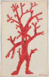 Natalia Goncharova, Coral costume design for Sadko, 1915–16, gouache and graphite on paper mounted on cardboard, 37.5 x 23.9 cm