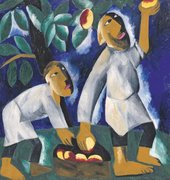 Natalia Goncharova, Peasants Picking Apples, 1911, oil paint on canvas, 104.5 x 98 cm