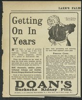 Newspaper advertisement for Doan's Backache Kidney Pills, 1918