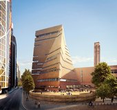 Architect's render of the exterior view from the south of the new Tate Modern building