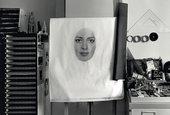 Nikoo Kohbodi's home studio in Tehran, with her unfinished self-portrait, 2017