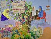 Aliza Nisenbaum Nimo, Sumiya, and Bisharo harvesting flowers and vegetables at Hope Community Garden 2017