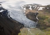 An aerial photograph of Icelandic glaciers