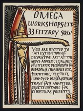 A private view card probably designed by Duncan Grant for the opening exhibition at the Omega Workshops in 1913 © Henrietta Garnett. All rights reserved