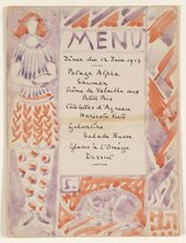 Menu card designed by either Vanessa Bell or Duncan Grant probably for the dinner to celebrate the opening of the Omega Workshops © Tate Archive