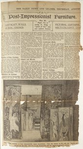Press cutting discussing the influence of post-impressionist painting style on the furniture and household accessories created by the Omega Workshops. © Associated Newspapers Ltd.