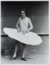 Otto Kobalek with Passstück by Franz West, Vienna, 1974, photographed by Friedl Kubelka