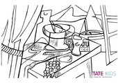 Colouring sheet of Juan Gris's 'Overlooking the Bay'