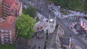 Birds eye view of a city street